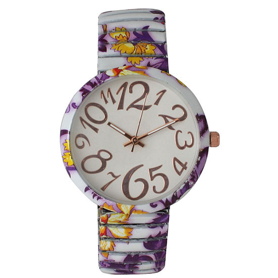 Olivia Pratt Womens Purple Yellow Floral Expansion Band Watch 25975Purple Yellow