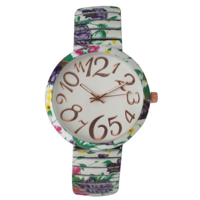 Olivia Pratt Womens White Green Purple Floral Expansion Band Watch 25975White Green Purple