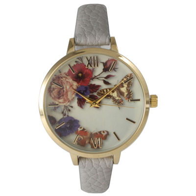 Olivia Pratt Womens Gold-Tone Butterfly And Flowers Print Dial Grey Leather Strap Watch 14962