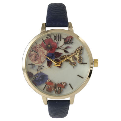 Olivia Pratt Womens Gold-Tone Butterfly And Flowers Print Dial Navy Leather Strap Watch 14962