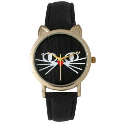 Olivia Pratt Womens Gold-Tone Cat Face Print Dial Black Leather Strap Watch 15044