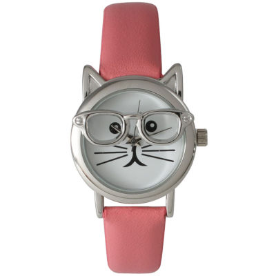 Olivia Pratt Womens Silver-Tone Ears And Glasses White Cat Face Print Dial Pink Faux Leather Strap Watch 15097