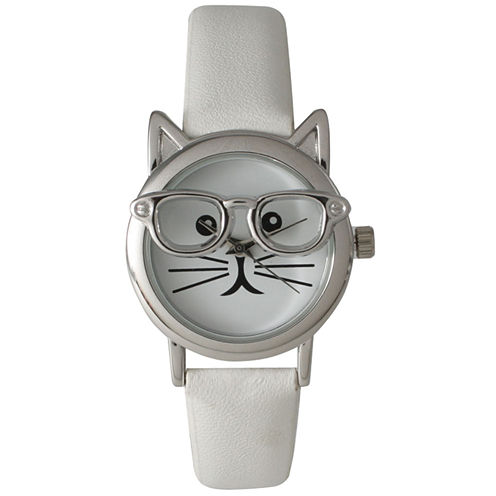 Olivia Pratt Womens Silver-Tone Ears And Glasses White Cat Face Print Dial White Faux Leather Strap Watch 15097