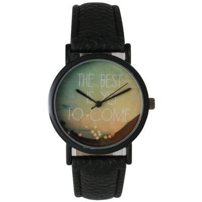 "Olivia Pratt Womens Black ""The Best Is Yet To Come"" Multi-Color Dial Black Leather Strap Watch 15117"