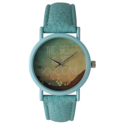 "Olivia Pratt Womens Light Blue ""The Best Is Yet To Come"" Multi-Color Dial Light Blue Leather Strap Watch 15117"