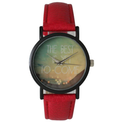 "Olivia Pratt Womens Black ""The Best Is Yet To Come"" Multi-Color Dial Red Leather Strap Watch 15117"