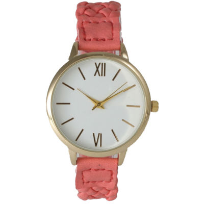 Olivia Pratt Womens Gold-Tone White Dial Coral Braided Faux Leather Strap Watch 15141