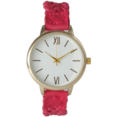 Olivia Pratt Womens Gold-Tone White Dial Hot Pink Braided Faux Leather Strap Watch 15141