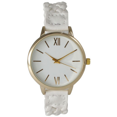 Olivia Pratt Womens Gold-Tone White Dial White Braided Faux Leather Strap Watch 15141