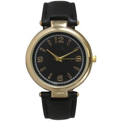 Olivia Pratt Womens Gold-Tone Black Leather Strap Watch 15253