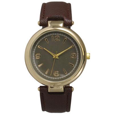Olivia Pratt Womens Gold-Tone Brown Leather Strap Watch 15253
