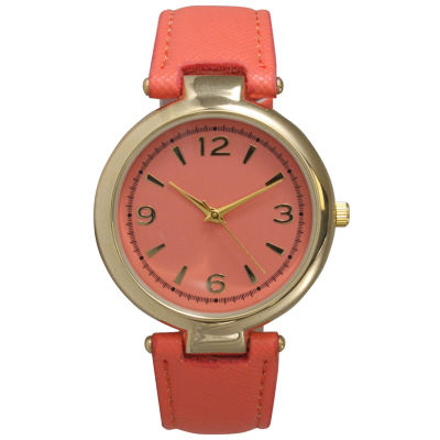 Olivia Pratt Womens Gold-Tone Coral Leather Strap Watch 15253