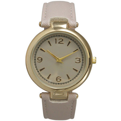 Olivia Pratt Womens Gold-Tone Beige Leather Strap Watch 15253
