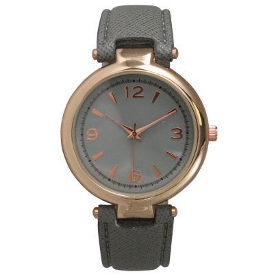 Olivia Pratt Womens Rose Gold-Tone Grey Leather Strap Watch 15253