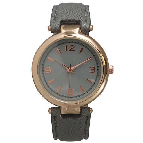 Olivia Pratt Womens Rose Gold-Tone Grey Leather Strap Watch 15253