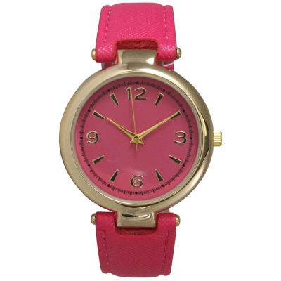 Olivia Pratt Womens Gold-Tone Hot Pink Leather Strap Watch 15253