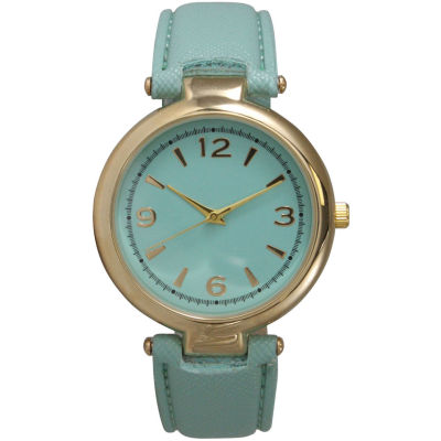 Olivia Pratt Womens Gold-Tone Mint Leather Strap Watch 15253