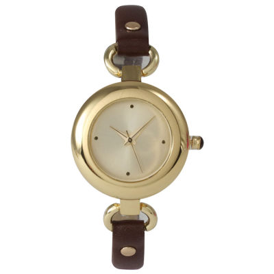 Olivia Pratt Womens Gold-Tone Brown Leather Strap Watch 15302