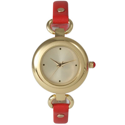 Olivia Pratt Womens Gold-Tone Red Leather Strap Watch 15302