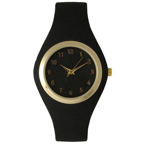 Olivia Pratt Womens Gold-Tone Black Silicone Strap Watch 15310S