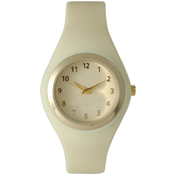 Olivia Pratt Womens Gold-Tone Cream Silicone Strap Watch 15310S