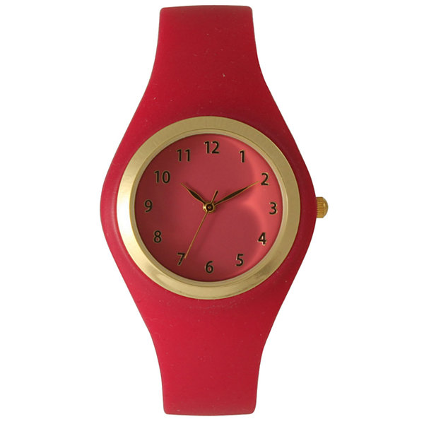 Olivia Pratt Womens Gold-Tone Hot Pink Silicone Strap Watch 15310S