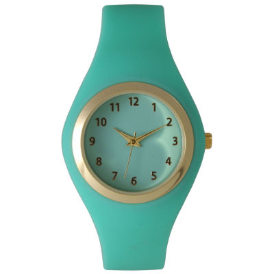 Olivia Pratt Womens Gold-Tone Mint Silicone Strap Watch 15310S