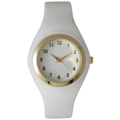 Olivia Pratt Womens Gold-Tone White Silicone Strap Watch 15310S