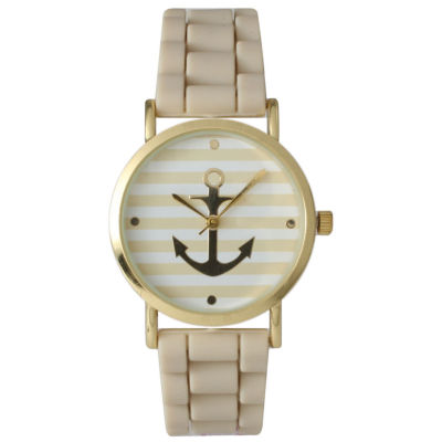 Olivia Pratt Womens Horizontal Stripe Anchor Emblem Dial Beige Silicone Watch