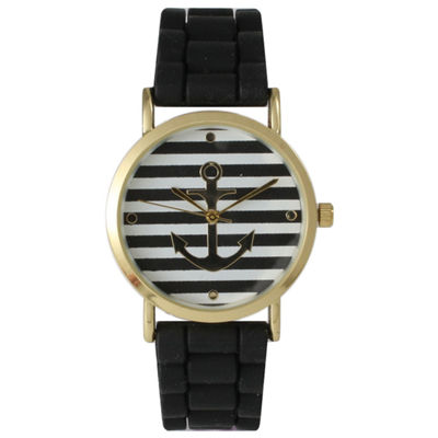 Olivia Pratt Womens Horizontal Stripe Anchor Emblem Dial Black Silicone Watch