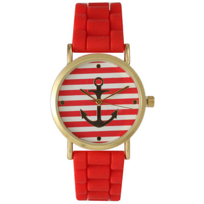 Olivia Pratt Womens Horizontal Stripe Anchor Emblem Dial Red Silicone Watch
