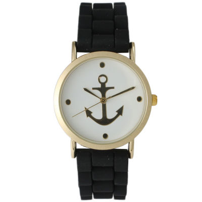 Olivia Pratt Womens Gold Anchor Emblem Dial Black Silicone Watch