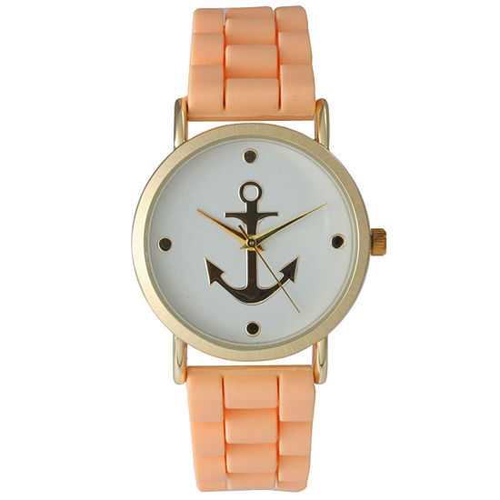 Olivia Pratt Womens Gold Anchor Emblem Dial Coral Silicone Watch