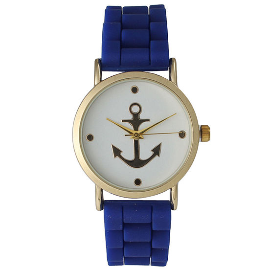 Olivia Pratt Womens Gold Anchor Emblem Dial Royal Silicone Watch