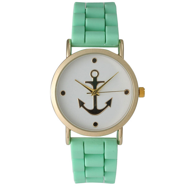 Olivia Pratt Womens Gold Anchor Emblem Dial Mint Silicone Watch 8056Mint
