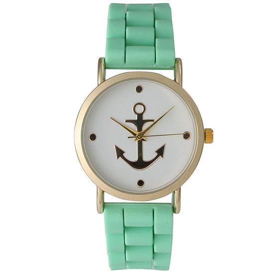 Olivia Pratt Womens Gold Anchor Emblem Dial Mint Silicone Watch 8056Mint