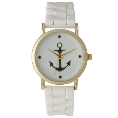 Olivia Pratt Womens Gold Anchor Emblem Dial White Silicone Watch 8056White