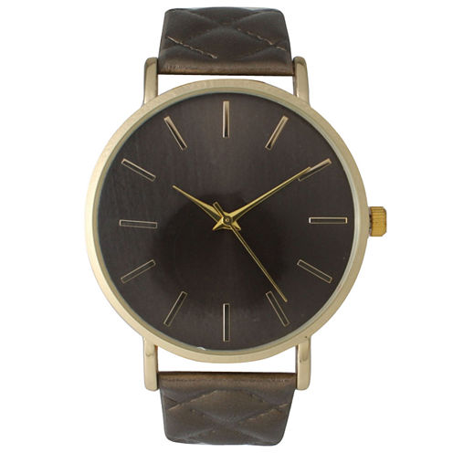Olivia Pratt Womens Bronze Quilted Leather Strap Watch 13029Mbronze
