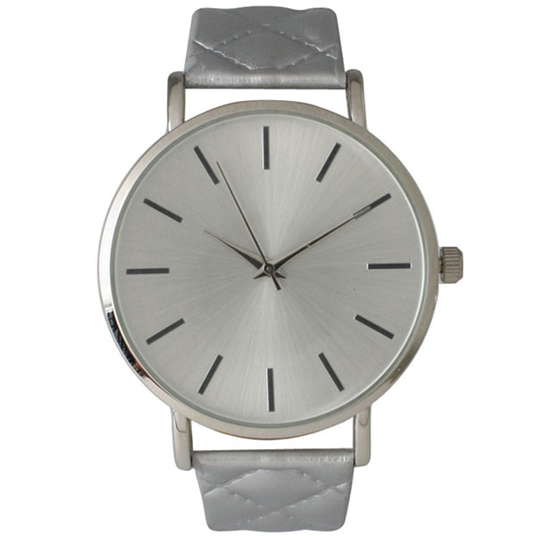Olivia Pratt Womens Silver Quilted Leather Strap Watch 13029Msilver