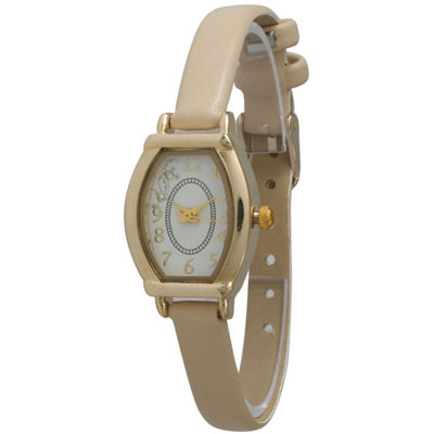 Olivia Pratt Womens Petite Beige Leather Watch 13420Beige