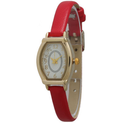 Olivia Pratt Womens Petite Red Leather Watch 13420Red