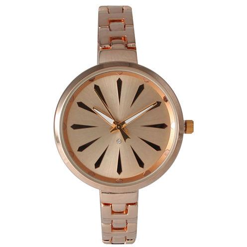 Olivia Pratt Womens Rose Gold-Tone Petite Band Bracelet Watch 15134 15134Rose