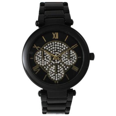 Olivia Pratt Womens Black Rhinestone Accent Dial Bracelet Watch 15140 15140Black