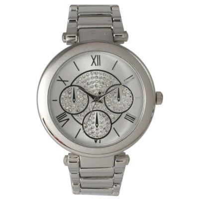 Olivia Pratt Womens Silver-Tone Rhinestone Accent Dial Bracelet Watch 15140 15140Silver