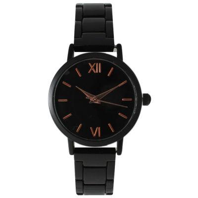 Olivia Pratt Womens Black Wh Rose Gold-Tone Accents Bracelet Watch 15310 15310Blackrose