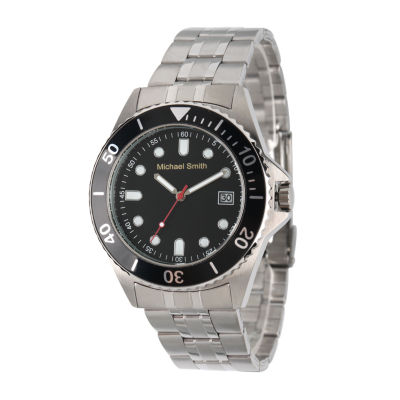 Personalized Mens Silver Tone Black Dial Diver Bracelet Watch
