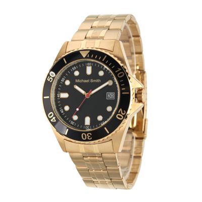 Personalized Mens Gold Tone Black Dial Diver Bracelet Watch