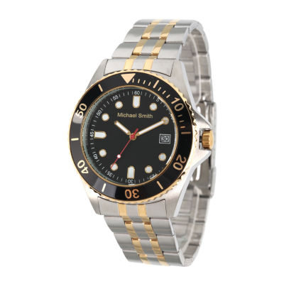 Personalized Mens Two Tone Black Dial Diver Bracelet Watch