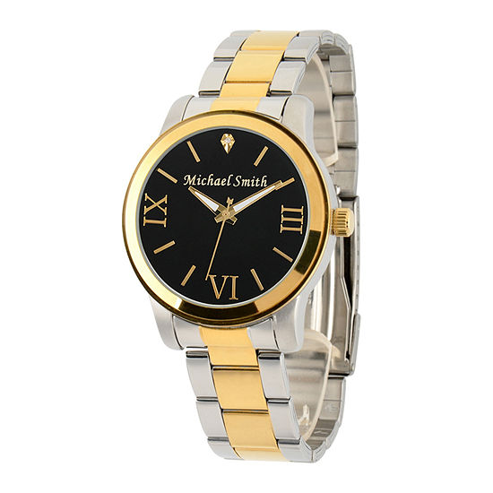 Personalized Two Tone Black Dial Stainless Steel Bracelet Watch