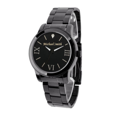 Personalized Gun Metal Black Dial Stainless Steel Bracelet Watch